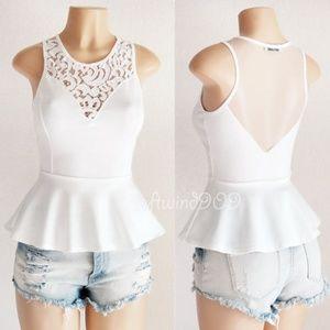 Ivory White Lace Mesh Inset Knit CUTE Peplum Top